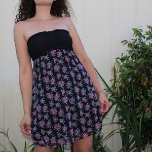 Express Strapless Floral Baby Doll Midi Dress 👗💐